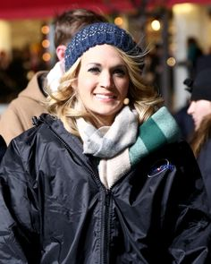 """Brr, it's cold out here."" Carrie Underwood bundles up at the Macy's Thanksgiving Day Parade rehearsals in chilly New York on Nov. 25"