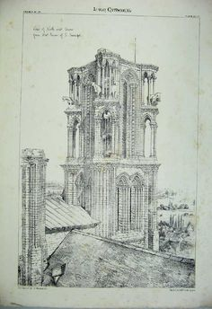 Print *0105 Laon Cathedral Tower Church France Architecture C1875