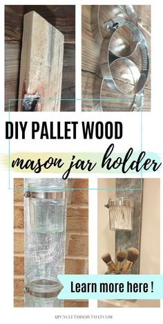 Making a unique storage wall shelf can be done in one hour with reclaimed pallet wood and mason jars. Learn how to make your own DIY pallet wood mason jar holder by clicking through for full instructions! Furniture Wax, Wood Pallet Furniture, Wood Pallet Signs, Wood Pallets, Pallet Crafts, Diy Pallet Projects, Diy Home Crafts, Mason Jar Holder, Mason Jars