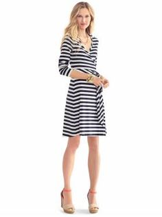 I love horizontal stripes. I have a couple of dresses with this design, but I don't have it in a wrap dress. This might be going in the closet as well.