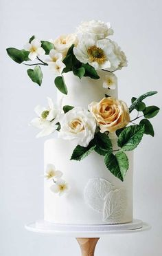 Wedding cakes are an iconic part of a big-day reception. There's nothing like a beautiful wedding cake, that looks almost too pretty to cut into. Textured Wedding Cakes, Pretty Wedding Cakes, Floral Wedding Cakes, Unique Wedding Cakes, Wedding Cakes With Flowers, Wedding Cake Designs, Wedding Themes, Wedding Colors, Wedding Ideas