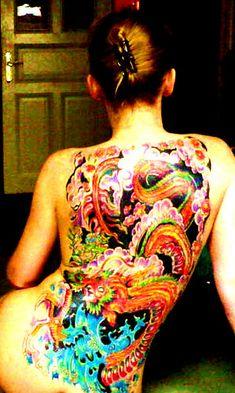 my colourful Backpiece Posted by CrazyGirlFromHamburg on Tagged: Tattoo Bodyart Hamburg Backpiece Extrem Dragon Blond Irezumi Japanese Woman Female The post my colourful Backpiece appeared first on Tattoos. January 10 2020 at Full Back Tattoos, Back Tattoo Women, Tattoos For Women, Love Tattoos, Tattoo You, Tatoos, Tattoo Addiction, Japan Tattoo, Irezumi Tattoos