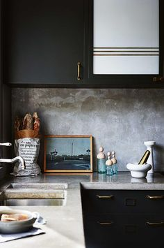 At home with stylist Claire Delmar - French By Design - black cabinets with concrete counters and backsplash Black Kitchens, Home Kitchens, Kitchen Black, Devol Kitchens, Brass Kitchen, Cottage Kitchens, Modern Kitchens, Kitchen Interior, Kitchen Decor