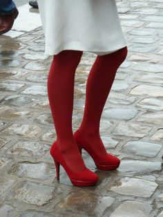 Red tights and shoes + white skirt