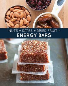 Nozes + tâmaras + frutas secas = barras de cereal