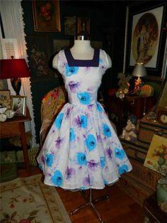 Vintage 60's Cotton Print Dress w NIP Waist Full Skirt Mad Men L | eBay