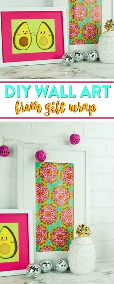 I am always looking around for new ways to decorate my walls. I especially love when I find awesome ideas that won't break the bank like this DIY wall art from gift wrap!