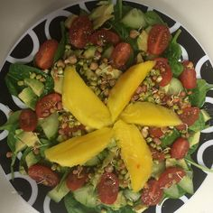 #lunchtime #spinach #avocado #cucumber #cherrytomatoes  #lentils #mango #lime #healthyeating #healthyliving #foodie #madebyme #morgansnature #fruits #veg #salad #rawfood #freshfoods #teamhealthy