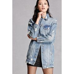 Forever21 Distressed Longline Denim Jacket ($48) ❤ liked on Polyvore featuring outerwear, jackets, denim, longline jacket, blue denim jacket, blue jean jacket, distressed denim jacket and long sleeve jacket