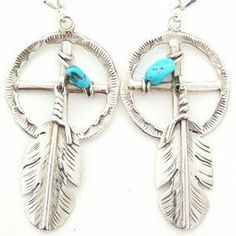 Medicine Wheel Sterling Silver Earrings with Turquoise and Feathers | Four Corners USA OnLine | Native American Jewelry
