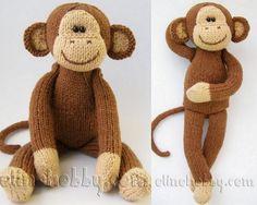вязаная обезьяна, вязаная игрушка спицами, вязаная обезьянка спицами, игрушки olinohobby