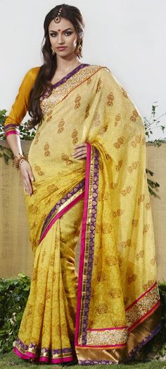 Yellow Embroidery Faux Georgette Wedding Saree 22039