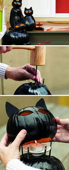 Black Cat O'Lanterns | DIY Halloween Outdoor Decorations