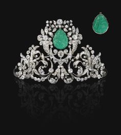 Carved Emerald and Diamond Tiara, 19th Century