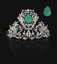 Emerald and diamond tiara, 19th century - Sotheby's