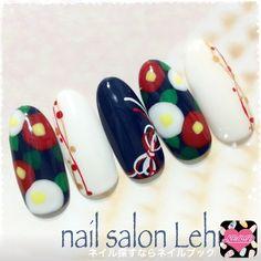 ネイル デザイン 画像 1324666 ブルー ホワイト フラワー 和 オフィス デート パーティー 春 冬 お正月 浴衣 ブライダル 成人式 卒業式 ロング ミディアム ショート New Year's Nails, 3d Nails, Stylish Nails, Trendy Nails, Cute Nail Art, Cute Nails, Mexican Nails, New Years Nail Art, Kawaii Nails