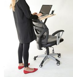 Genius! This product transforms any chair into a standing desk.