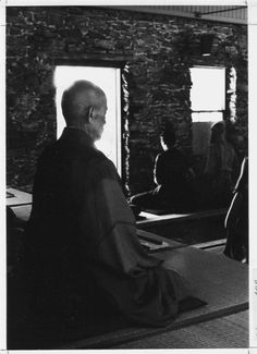 Suzuki-roshi sitting in the old Tassajara Zendo