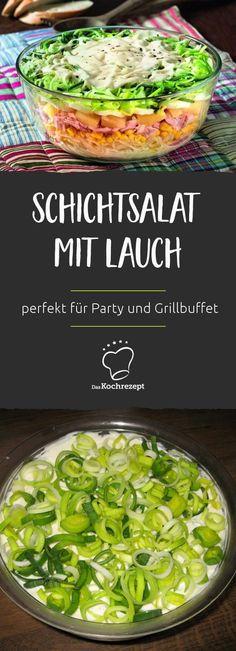 Der Schichtsalat mit Lauch lässt sich prima vorbereiten und zieht dann über Nacht im Kühlschrank. Perfekt für jede Party oder auch für's Grillbuffet.
