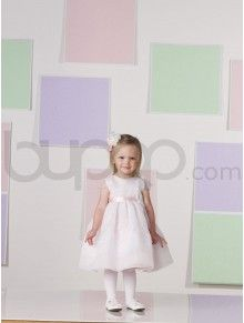 Tea-length A-line Organza and Satin Ribbon Waistband Bodice Jewel Neckline Flower Girl Dress (JC111385B)