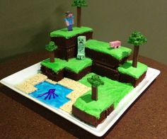 Here is a minecraft world cake I put together.  Really quite easy and very popular!  We went out for laser tag for my son't birthday and several people...