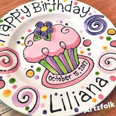 Personalized Birthday Plate confetti party swirls and flower cupcake handmade by Artzfolk or favorites Pottery Painting Designs, Pottery Art, Sharpie Crafts, Sharpie Plates, Birthday Plate, Custom Cupcakes, Custom Plates, Fire Art, Flower Cupcakes