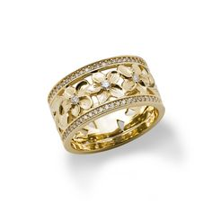 Hawaiian Heirloom Plumeria Scroll Ring with Diamonds in Yellow Gold-Size 7 Hawaiian Heirloom Jewelry, Heirloom Rings, Hawaiian Jewelry, Custom Wedding Rings, Wedding Ring Bands, Hawaiian Wedding Rings, Tungsten Wedding Rings, Tahitian Black Pearls, Gold Rings Jewelry