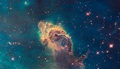 WFC3 visible image of the Carina Nebula is composed of gas and dust, the pictured pillar resides in a tempestuous stellar nursery called the Carina Nebula, located 7500 light-years away in the southern constellation of Carina.    Hubble's Wide Field Camera 3 observed the Carina Nebula on 24-30 July 2009. WFC3 was installed aboard Hubble in May 2009 during Servicing Mission 4. The composite image was made from filters that isolate emission from iron, magnesium, oxygen, hydrogen and sulphur.