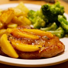 You'll need  6-8 boneless porkchops  2 lg can peaches (do not drain)  1/2 tsp cinnamon  1/4 cup brown sugar  1 cups apple juice    All you need to do is brown the porkchops on both sides then put them in the crockpot. In a bowl mix the can of peaches with the cinnamon and brown sugar and apple juice. pour on top of pork chops and cook on low for 6 hours. I serve it over white rice.