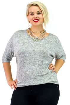 Plus Size Marled Dolman Quarter Sleeve Knitted Top