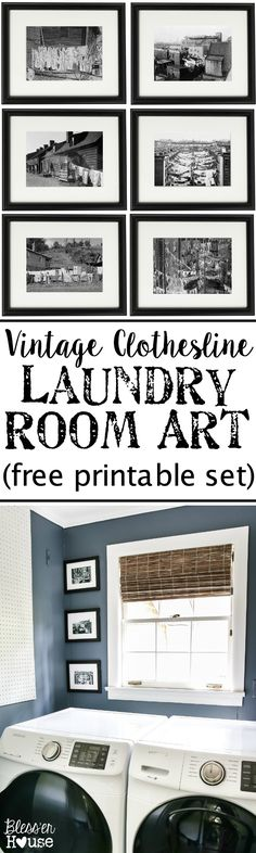 Vintage Clothesline Laundry Room Art Printable Set | blesserhouse.com - A free downloadable printable set of 6 vintage black