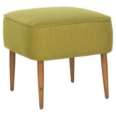 """Rest a tray of cocktails or add an extra seat around your coffee table with this midcentury-inspired ottoman, showcasing linen-cotton upholstery and exposed birch wood legs.       Product: Ottoman   Construction Material: Birch wood and linen-cotton    Color: Green       Features: Spindle legs Dimensions: 18.5"""" H x 19.7"""" W x 19.7"""" D"""