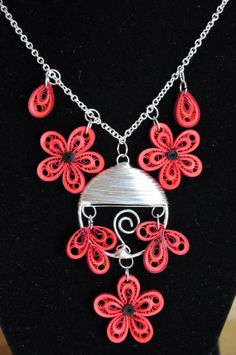 Hand made red flowers paper quilling necklace jewelry by NhiArt, $37.00
