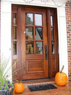Cool 35 Gorgeous Farmhouse Front Door Entrance Design Ideas To Apply Asap. # - October 27 2019 at Front Door Entrance, Wood Front Doors, Exterior Front Doors, House Front Door, Glass Front Door, House Doors, Entry Doors, Wooden Doors, Stained Front Door