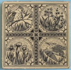 A terrific aesthetic movement tile from Minton Hollins, c. 1880, with registration stamp on reverse, depicting a kingfisher, crane, iris and trillium in a sophisticated design. The tile is underglaze...
