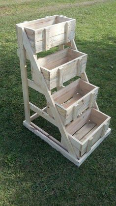 Awesome Inspiration for some tiered planters....but could also be used for some cool craft/sewing room storage! How about using this for selling your roadside veggies too!
