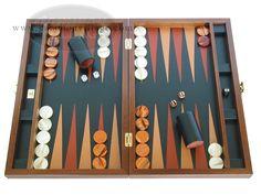 Zaza & Sacci® Folding Wood Backgammon Set - Model ZS-008 - Large - Leather/Mahogany - Wooden Backgammon Set - Wood Large Sets - Over $300 - GammonVillage Store USA