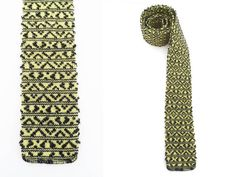 Knit Tie Skinny Tie Square End 50s 60s Hipster by hanniandmax, $29.00
