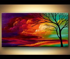 Colorful Abstract Tree Painting, Landscape Painting, Turquoise, Red, Purple Tree Art by Osnat - MADE-TO-ORDER Großen Acryl farbenfrohe Landschaftsmalerei von OsnatFineArt Easy Canvas Painting, Simple Acrylic Paintings, Abstract Landscape Painting, Landscape Paintings, Abstract Art, Art Paintings, Painting Art, Canvas Artwork, Sunset Paintings