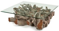Root Coffee Table with Glass