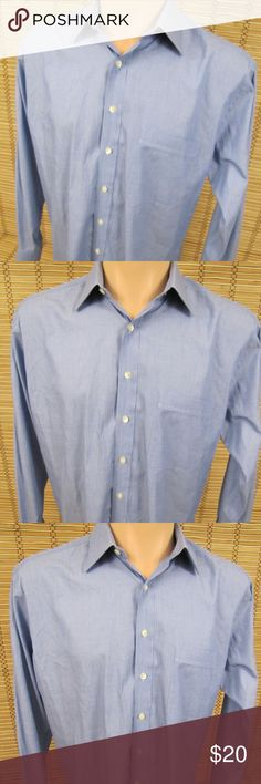 """Hickey Freeman Mens Sz 15.5 Striped Dress Shirt Inventory # C057  Hickey Freeman Collection  Condition: This item is in Very Good Condition! (Name written on inside bottom, small - see pic).  Item Specifics: Long Sleeve, Button Front, Striped  Material: 100% Cotton  Color:  Blue  – See Photos  Size: Mens Sz 15.5"""" - 34""""  Pit to Pit (Across Chest):  23""""  Length (Top of Collar to Hem):  33""""  Sleeves (Shoulder to Cuffs):  24.5"""" Hickey Freeman Shirts Dress Shirts"""