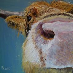ORIGINAL CONTEMPORARY HIGHLAND COW PAINTING BY - BRUCE