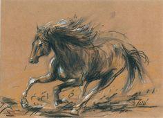 Al trote - Lápices sobre papel madera. 34,5 x 25 cm - Alejandro Felli