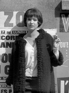 """The muse of French Nouvelle Vague, Danish born actress ANNA KARINA photographed on set of  """"Vivre Sa Vie"""" 1962"""