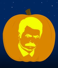 5. Ron Swanson - submitted by Ryanf4a9f29a09 | 18 Insanely Clever Pop Culture Stencils To Up Your Pumpkin Carving Game