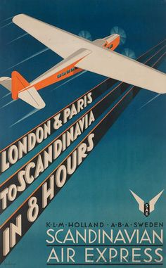 Poster by Anders Beckman Scandinavian Air Express. Old Poster, Poster Ads, Advertising Poster, Travel Ads, Airline Travel, Air Travel, Art Deco Posters, Cool Posters, Vintage Advertisements