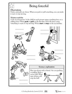 Push and Pull worksheet, simple homework to reinforce lesson on types of force