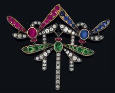 Dorotheum - Jewellery - An old-cut diamond brooch - Dragonflies, total weight ca. 1,20 ct,