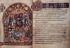 The Vespasian Psalter, made in eighth-century Kent, with pictures of King David, by tradition the author of the Psalms, and the oldest surviving translation of part of the Bible into English. Cotton Vespasian A I, ff.30v–31