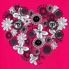 Girls bright pink, long-sleeved top by Little Marc Jacobs, made with soft and lightweight cotton jersey. It has a heart shaped, floral black and white print, decorated withstunning gemmed details trimmed with glittery metallic lace.